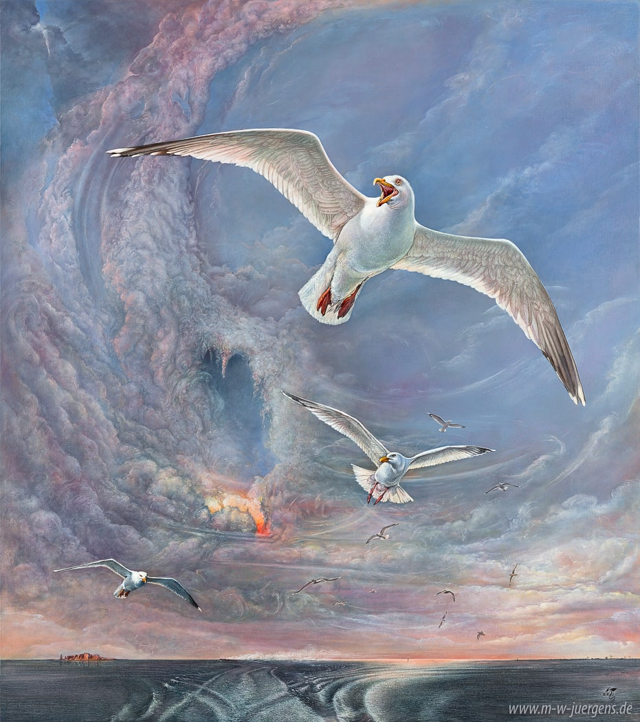 New Realism Art, Manfred W. Juergens, Sea Gulls, Helgoland